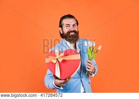 Eternal Love. Spring Present. True Gentleman With Bouquet. Love Date Concept. Bearded Man In Formalw