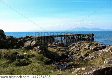 Old Disused Jetty At A Coastal Location In Ayrshire Scotland