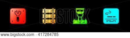 Set Repair Of Railway, Railway, Railroad Track, Train Conductor And Smoking Area Icon. Vector