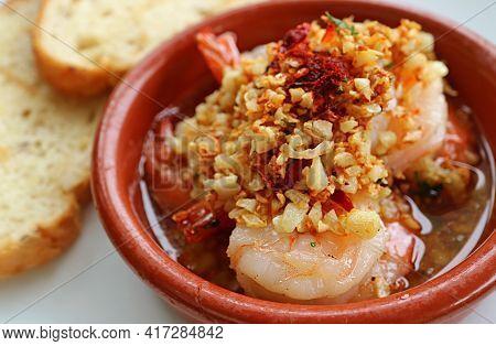 Delectable Spanish Well Known Dish Of Garlic Shrimps Or Gambas Al Ajillo