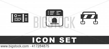 Set Train Ticket, Ticket Office To Buy Tickets And Road Barrier Icon. Vector