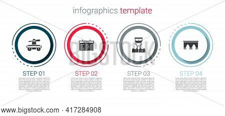Set Draisine Or Handcar, Train Station Board, Conductor And Bridge For Train. Business Infographic T