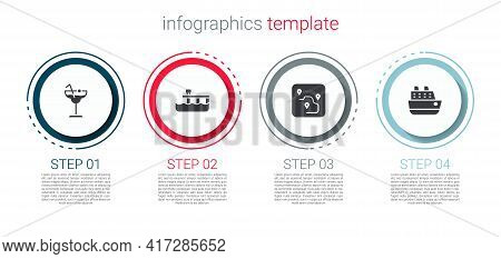 Set Cocktail, Beach Pier Dock, Route Location And Cruise Ship. Business Infographic Template. Vector
