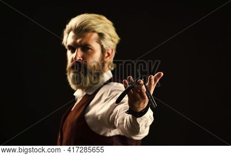 Should Try This. Haircut By Hairdresser. Portrait Of Stylish Man Beard. Holding Equipment. Getting P