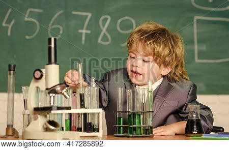Educational Experiment. Knowledge Concept. Fascinating Subject. Knowledge Day. Kid Study Biology Che