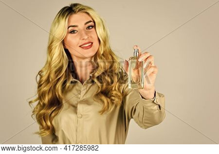 Spray Perfume. Female Fragrance. Gourmet Composition For Women. Attractive Woman In Fashionable Leat
