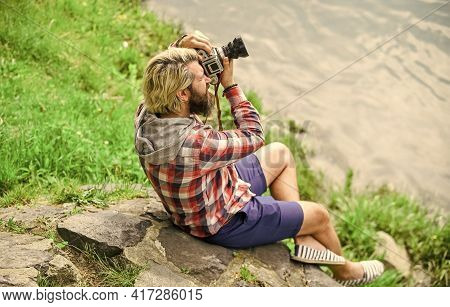 Man Bearded Hipster Photographer Hold Vintage Camera. Photographer Concept. Photographer Amateur Pho