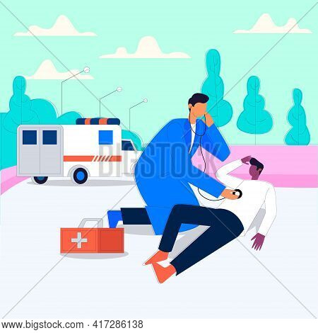 Emergency Illustrated Ambulance With Doctors And Patient, Doctor Checking Outdoor Patient To Pick Ho