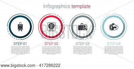 Set Suitcase, Attitude Indicator, And Jet Engine Turbine. Business Infographic Template. Vector