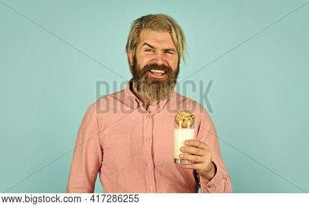 Soaking Cookie On Milk. Happy Farmer Eat Cookie Dessert. Bearded Man Drink Useful Milk With Pastry.