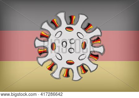 Sars-cov-2 Coronavirus With The German Flag In Spikes. Illustration Of The Covid-19 Pandemic In Germ