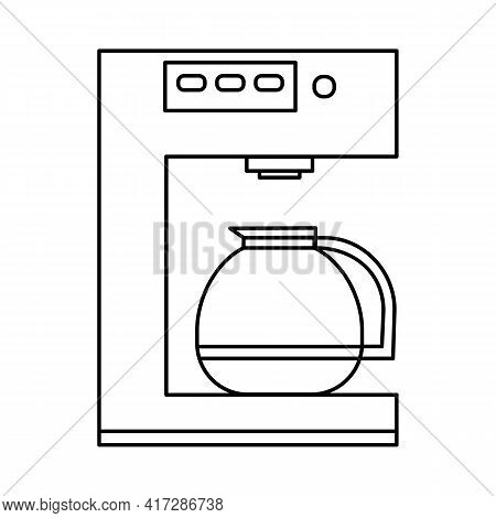 Coffee Machine With Kettle Outline Vector Icon. Kitchen Appliance Sign Isolated On White Background.