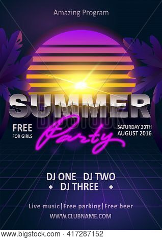 Summer Beach Party Poster Invitation. Inspiration Flyer Template. Vector Design