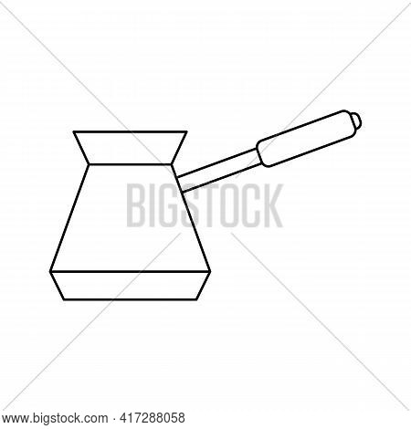 Coffee Turk Vector Outline Icon. Traditional Turkish Copper Pot For Kitchen. Turkish Coffee Pot Line