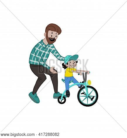 A Caring Father Teaches His Daughter To Ride A Bike For The First Time. Father Helps Little Boy Chil