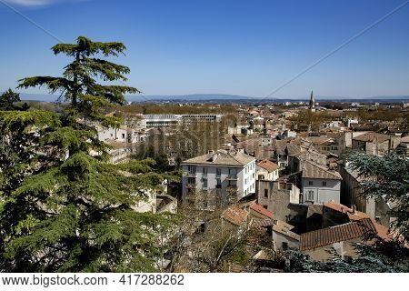 Panoramic View Of The Old City Of Avignon On South Of France On The Banks Of The Rhone River. Proven