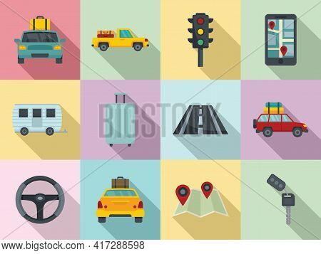 Car Trip Icons Set. Flat Set Of Car Trip Vector Icons For Web Design