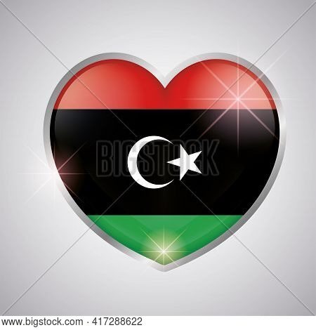 Isolated Heart Shape With The Flag Of Libya - Vector Illustration