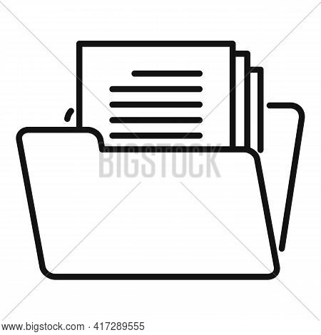 Open Folder Documents Icon. Outline Open Folder Documents Vector Icon For Web Design Isolated On Whi