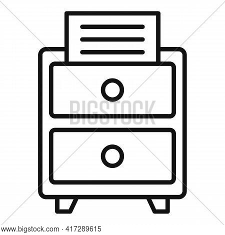 Office Documents Drawer Icon. Outline Office Documents Drawer Vector Icon For Web Design Isolated On