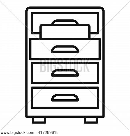 Drawer Folder Documents Icon. Outline Drawer Folder Documents Vector Icon For Web Design Isolated On