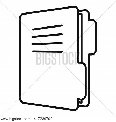 Classic Folder Doc Icon. Outline Classic Folder Doc Vector Icon For Web Design Isolated On White Bac