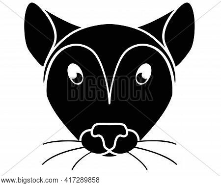 Silhouette Of A Mouse Head. Cute Cute Mouse Face - Black Silhouette For A Logo Or Pictogram. Mouse M