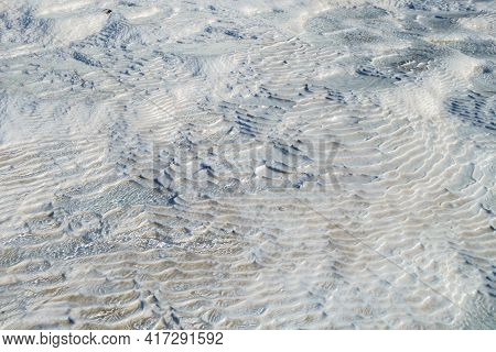 Ribbed Surface Of Travertine Bottom Of Surface As It Seen Through Running Waters Of Geothermal Sprin