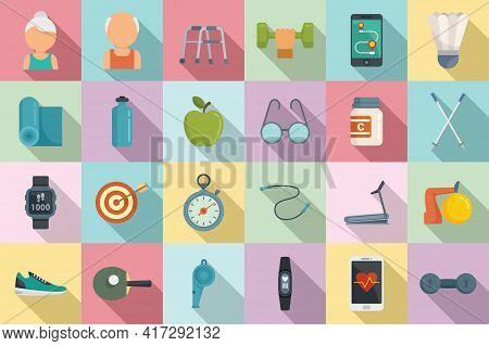 Workout Seniors Icons Set. Flat Set Of Workout Seniors Vector Icons For Web Design
