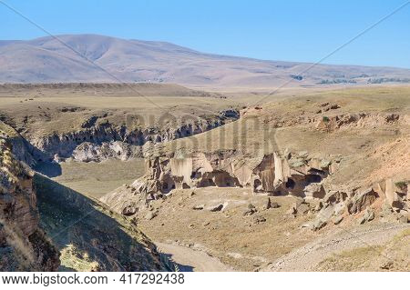 Panoramic View Onto Gorge That Surrounding Medieval City Ani, Near Kars, Turkey. There Are Remains O