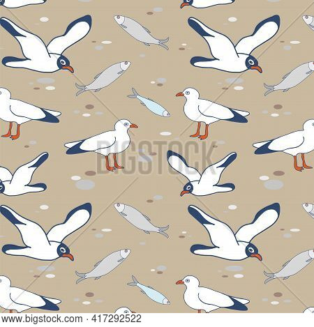 Seamless Pattern Of Seagulls Flying Over The Shore And Fish. Vector Image With Seagulls, Herring And