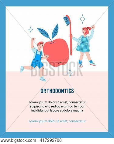 Banner For Orthodontic Dental Services For Children With Kids And Oral Care Tools. Kids Characters F