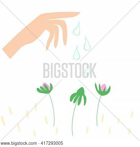 Vector Cartoon Illustration Of Hand Watering Plant, Planting Plants, Seeds, Flowers Bloom, Spring Pl