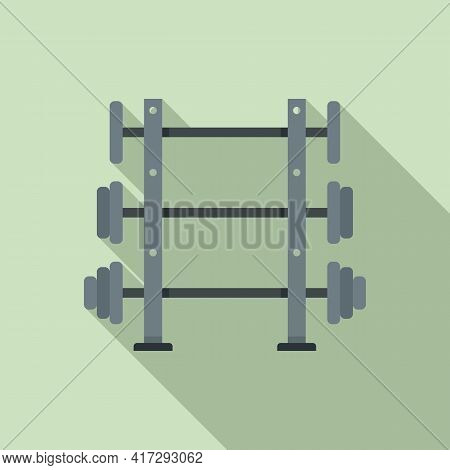 Barbells Stand Icon. Flat Illustration Of Barbells Stand Vector Icon For Web Design