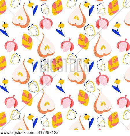 Vector Seamless Pattern With Ripe Pears, Lychees And Flowers. Trendy Hand Drawn Textures. Modern Abs