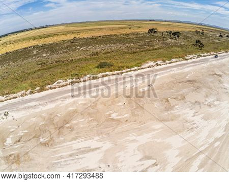 Aerial View Of Sand And Farm Fields In Lagoa Dos Barros Lake