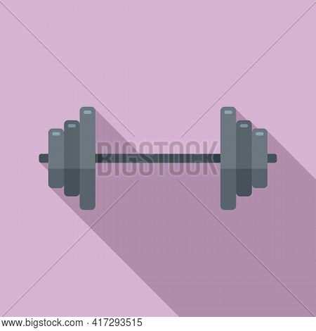 Steel Barbell Icon. Flat Illustration Of Steel Barbell Vector Icon For Web Design