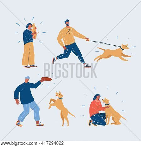 Vector Illustration Of People And Dogs. Woman And Man Play, Hug, Walk, Play And Pet Their Dog. Chara