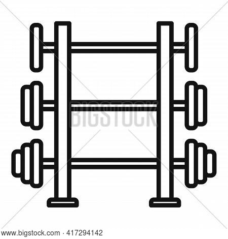 Barbells Stand Icon. Outline Barbells Stand Vector Icon For Web Design Isolated On White Background