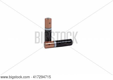 Two Aaa Batteries On White Isolated Background.