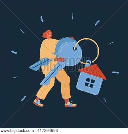 Vector Illustration Of Woman Buying Or Selling A House. Hand Holding Keys.