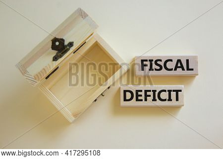 Fiscal Deficit Symbol. Concept Words 'fiscal Deficit' On Blocks On A Beautiful White Background, Sma