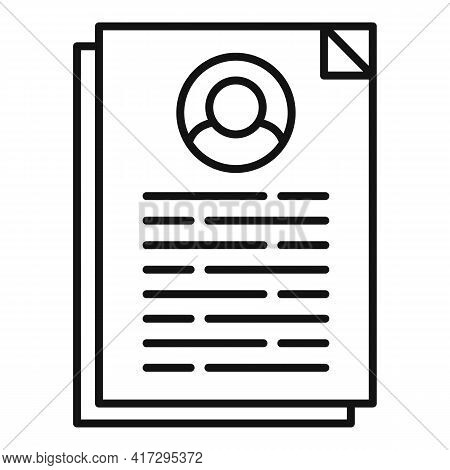 Cv Information Icon. Outline Cv Information Vector Icon For Web Design Isolated On White Background