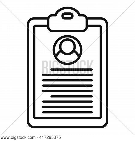 Personal Information Clipboard Icon. Outline Personal Information Clipboard Vector Icon For Web Desi