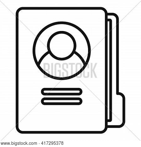 Personal Information Folder Icon. Outline Personal Information Folder Vector Icon For Web Design Iso