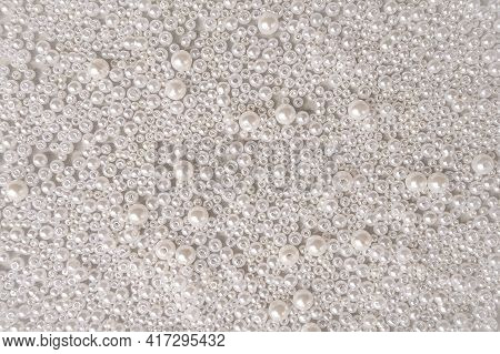 Background Texture Of White Pearls In Closeup. Abstract Background Or Surface With White Pearls, Jew