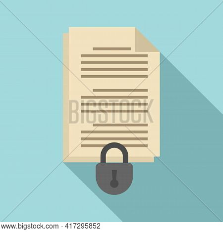 Document Access Authentication Icon. Flat Illustration Of Document Access Authentication Vector Icon