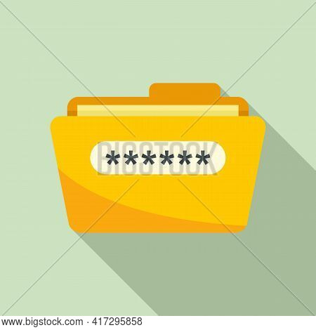 Folder Access Authentication Icon. Flat Illustration Of Folder Access Authentication Vector Icon For