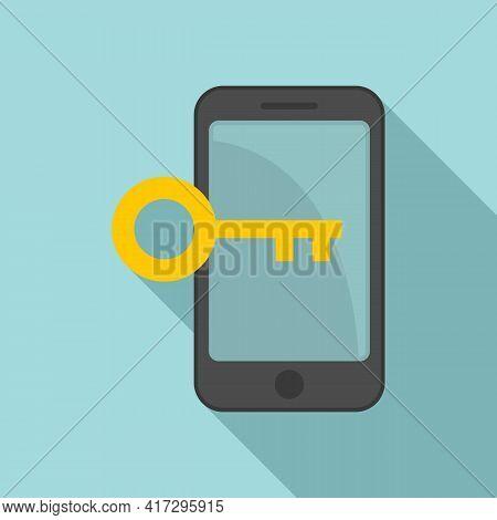 Phone Key Authentication Icon. Flat Illustration Of Phone Key Authentication Vector Icon For Web Des