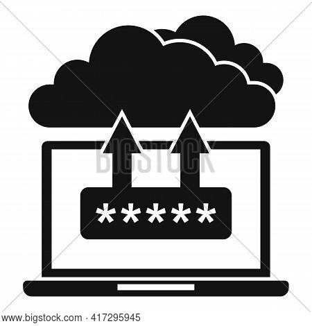 Laptop Cloud Authentication Icon. Simple Illustration Of Laptop Cloud Authentication Vector Icon For